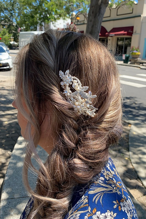Pearl & Silver Rhinestone Hairpiece 6919