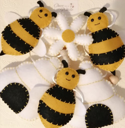 Hand sewn bee bunting