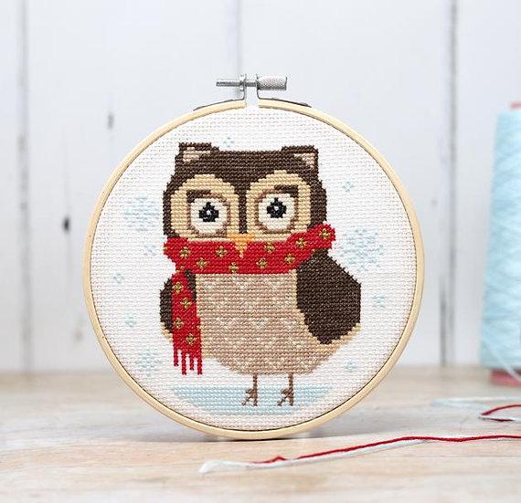 Cross Stitch Winter Owl