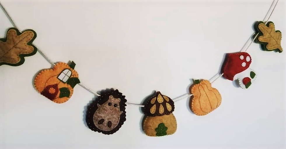 Hand Sewn Autumnal Bunting