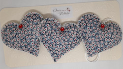Hand sewn fabric hearts with various fragrance fillings