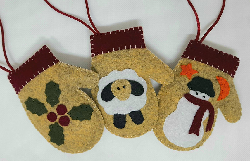 Applique mittens and stockings