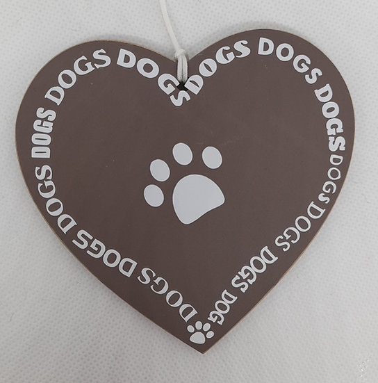 2 x MDF dog love decorations
