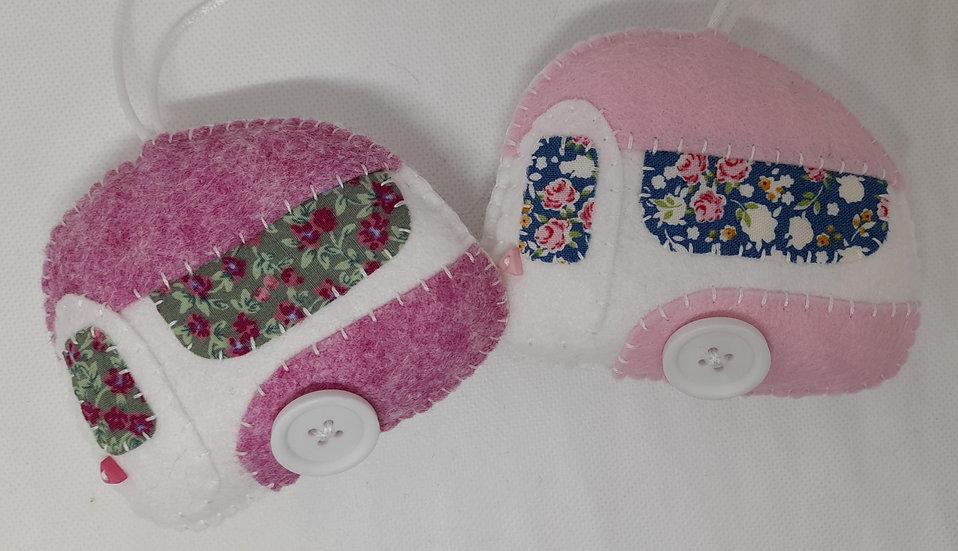 Hand sewn caravan decorations