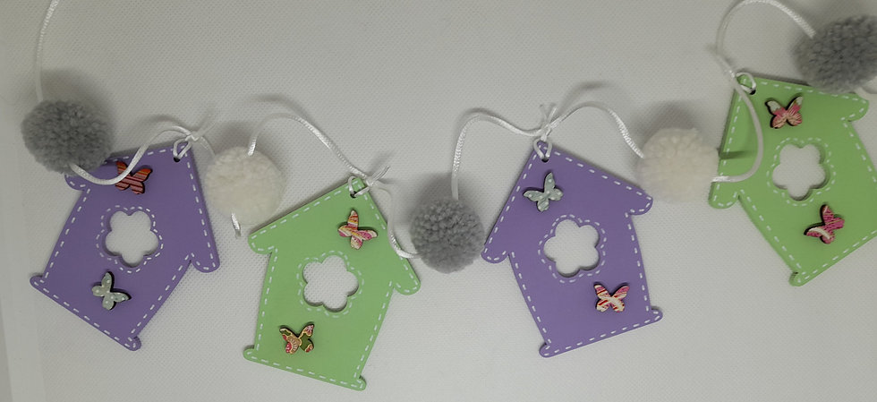 MDF flower house bunting