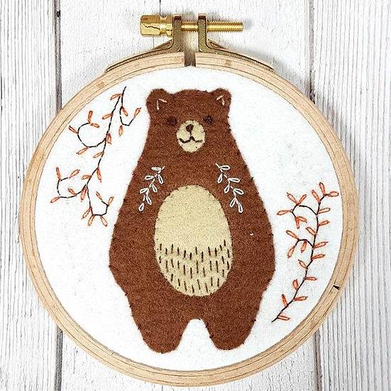 Folk Bear Mini Applique Hoop Kit