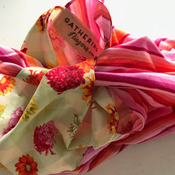 Bento, floral and pink stripes