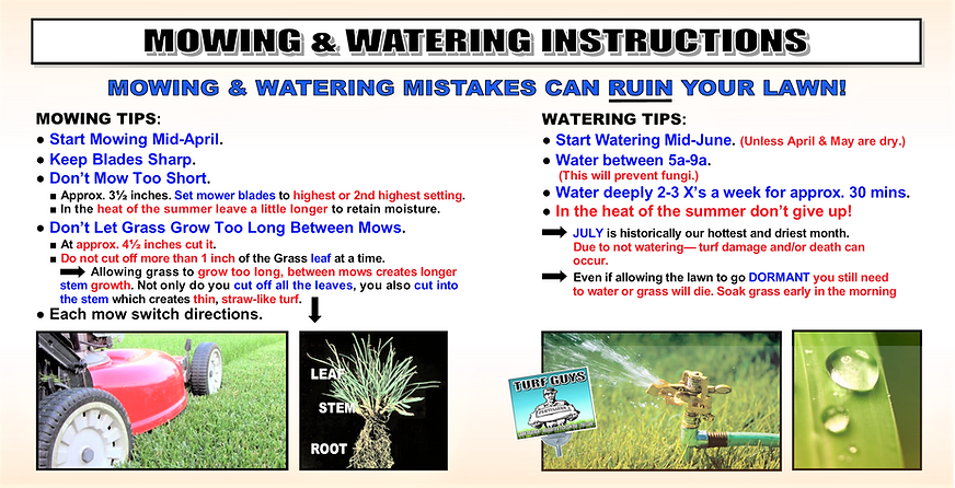 MOWING & WATERING INSTRUCTIONS