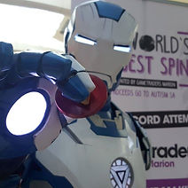 Ben Makepeace in Iron Man Mk4.blue at World's Biggest Spin event for Gametraders Marion and Autism SA