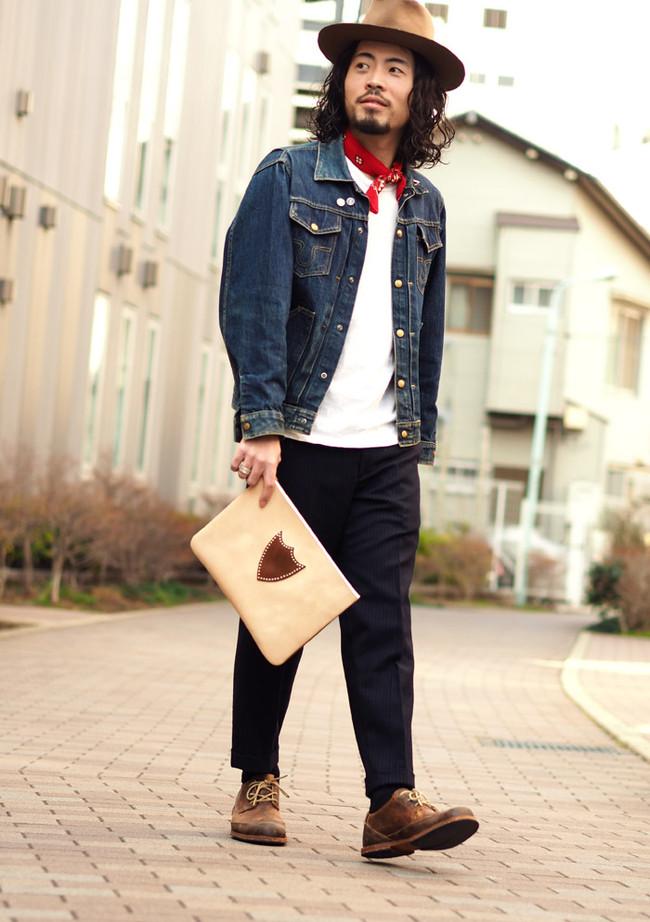 HTC bi-color Leather Clutch Bag