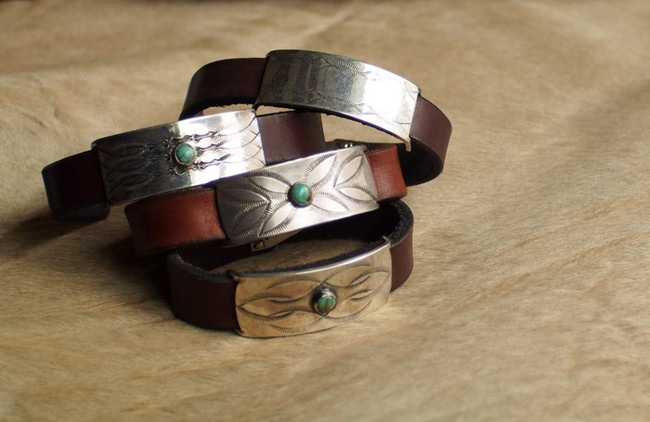 CHAFF Silver Plate & Leather Bracelet