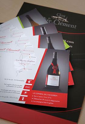Création d'une brochure et fiches techniques de vin destinés aux professionnels internationaux de vin
