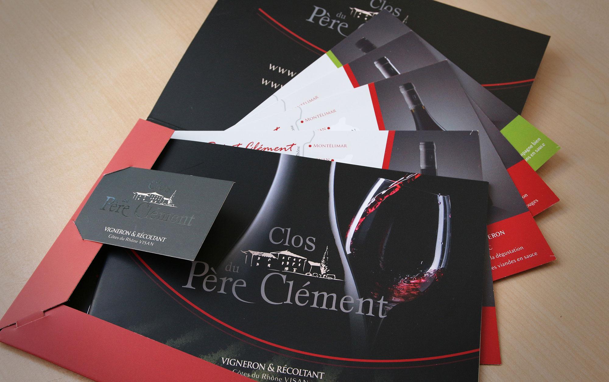 Brochure, carte de visite et fiche technique des vins du Clos du Père Clément