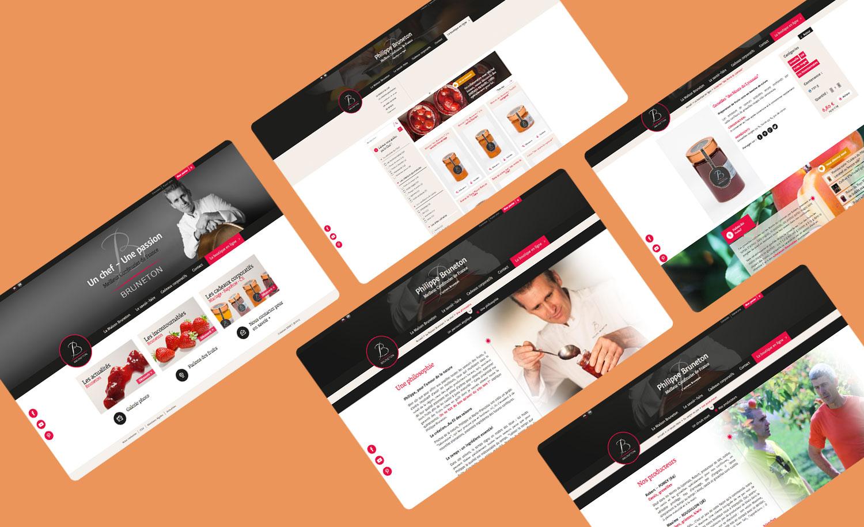 Maquettes du site internet et de la boutique en ligne responsive de la Maison Bruneton