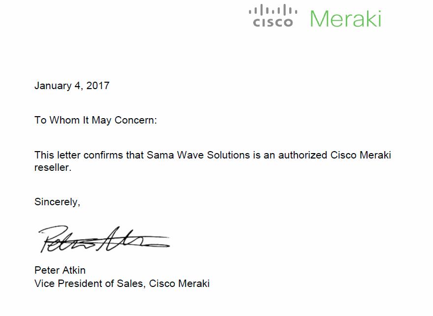 Meraki Partnership letter with SamaWave
