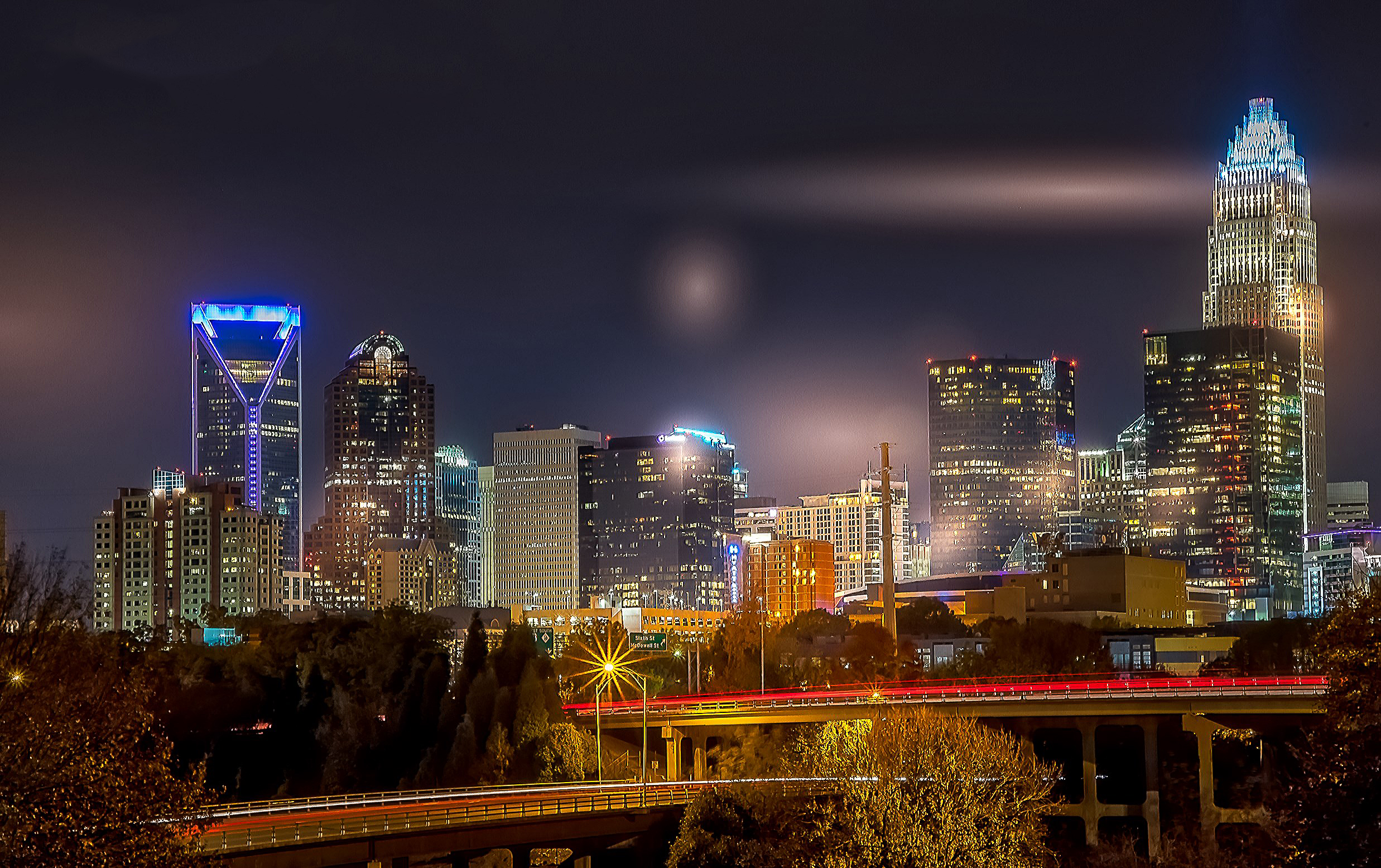 58084F - Charlotte Skyline at Night