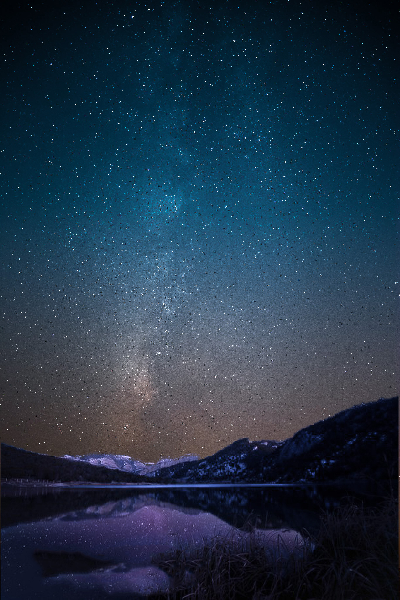 Milky Way Between Mountains - Night