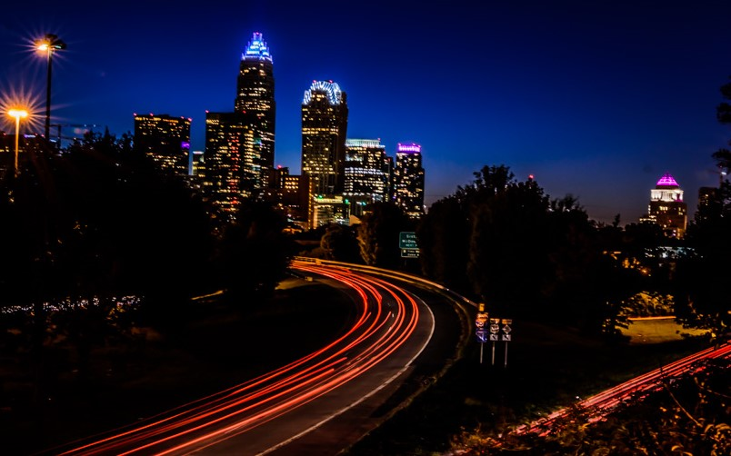 58085F - Charlotte Skyline at Night
