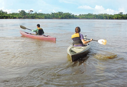 Kayaking in the Madre de Dios river