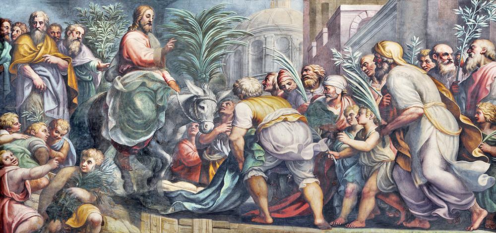 The fresco of Entry of Jesus in Jerusalem (Palm Sundy) in Duomo by Lattanzio Gambara (1567 - 1573)