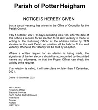 NOTICE OF VACANCY IN OFFICE OF COUNCILLOR
