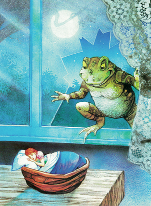 A toad sneaky in the window to abduct Thumbelina
