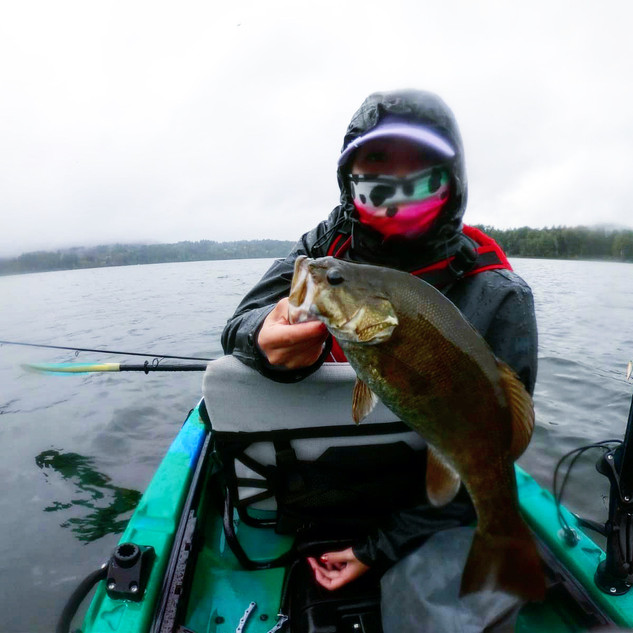 Smallmouth fishing in the rain.