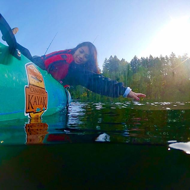 Having fun on a kayak
