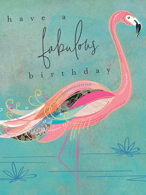Birthday Card - Flamingo