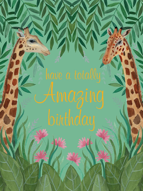 Birthday Card - Girffes