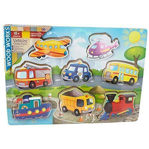 8 Piece 3D Vehicles Chunky Wooden Puzzle