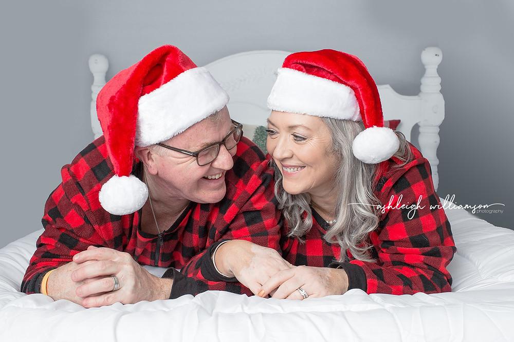 Holiday Mini, couple, Santa hats