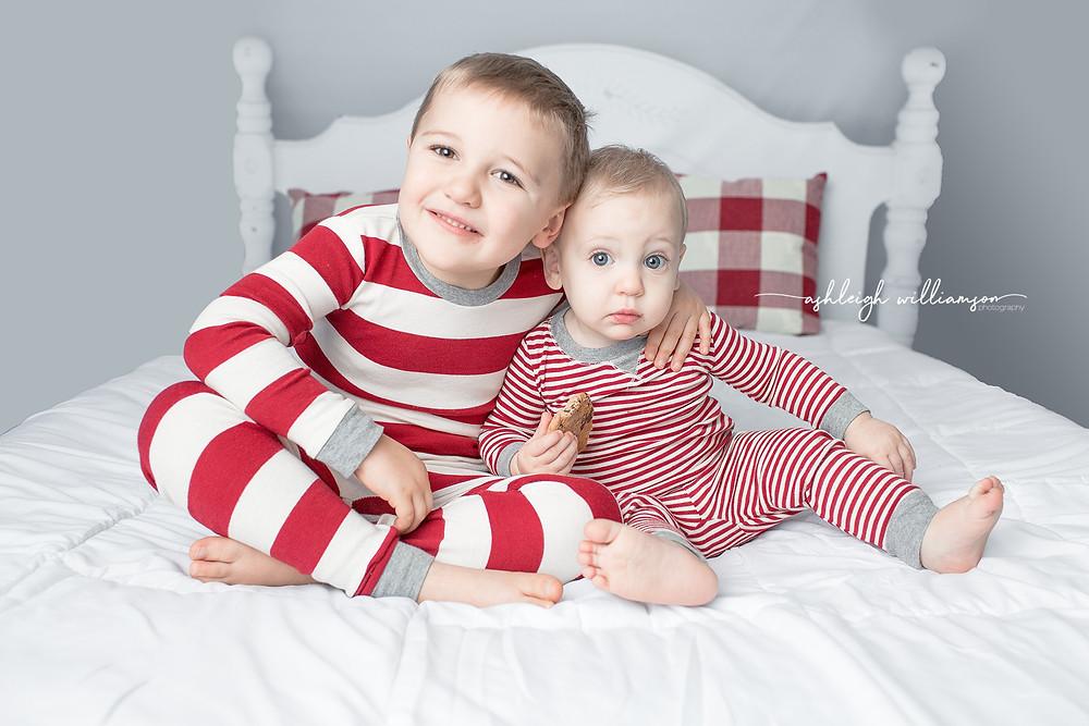 Holiday Mini, siblings in PJs