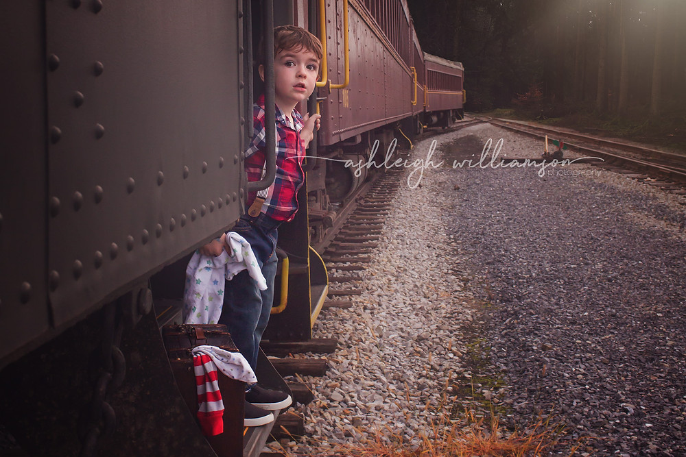 toddler on a train