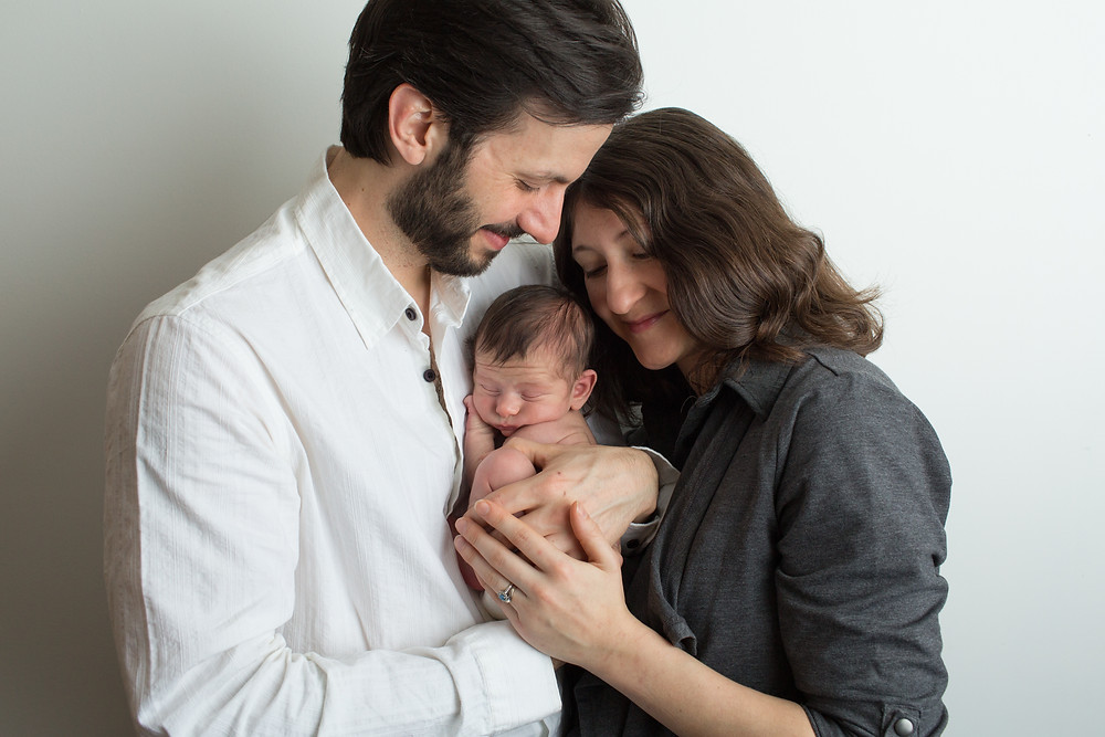 newborn baby boy with mom and dad