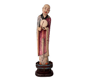 Polychrome ivory figure of a standing Luohan