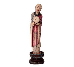 Figure en ivoire polychrome d'un Luohan debout