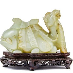 Large pale and russet jade figure of a Bactrian camel