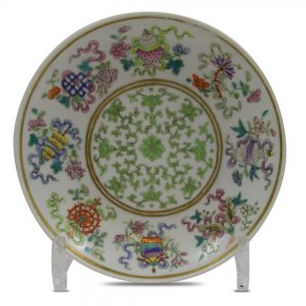 Famille rose Buddhist Emblems dish, 'Bajixiang'