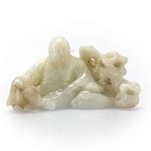Rare White Jade Figure of Wang Xizhi, Qianlong Seal Mark