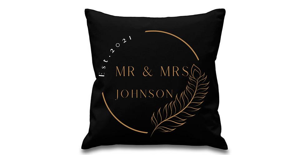 Wedding Personalised Cushion Cover Mr & Mrs Johnson