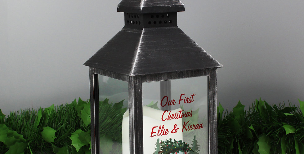 Rustic Black Lantern Personalised 'Driving Home For Christmas'