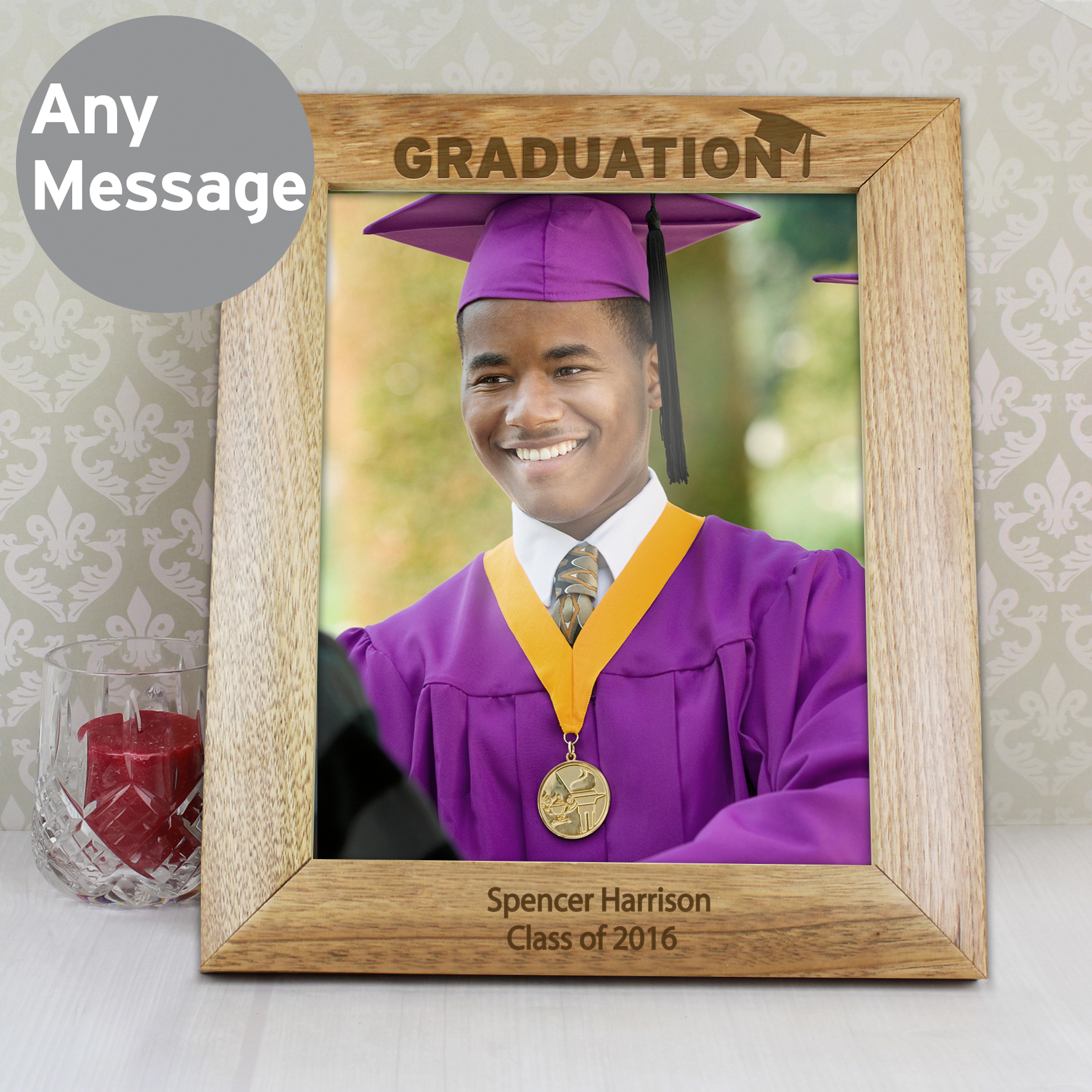 10x8 Wooden Photo Frame Personalised Graduation