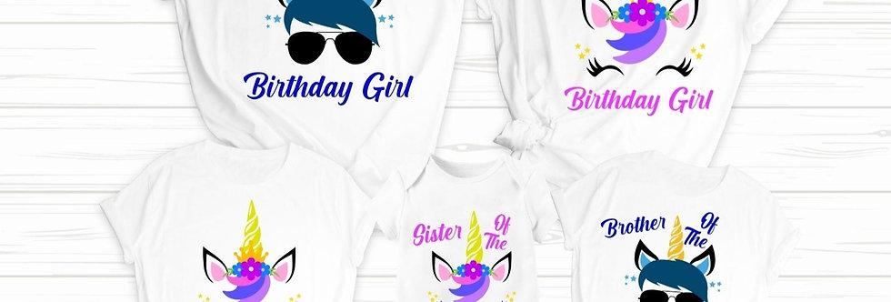 Unicorn Birthday Family T Shirt