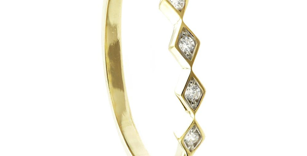 9ct Gold Crystal Zig Zag Stacking Ring