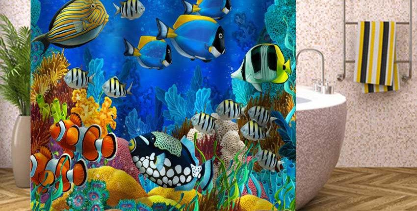 Tropical Fish Shower Curtain Undersea Turtle Waterproof Bath