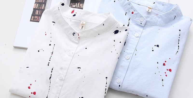 Graffiti Printed Long Sleeve Shirt