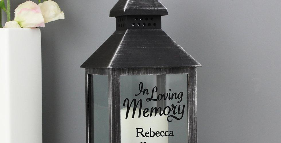 Rustic Black Lantern Personalised In Loving Memory