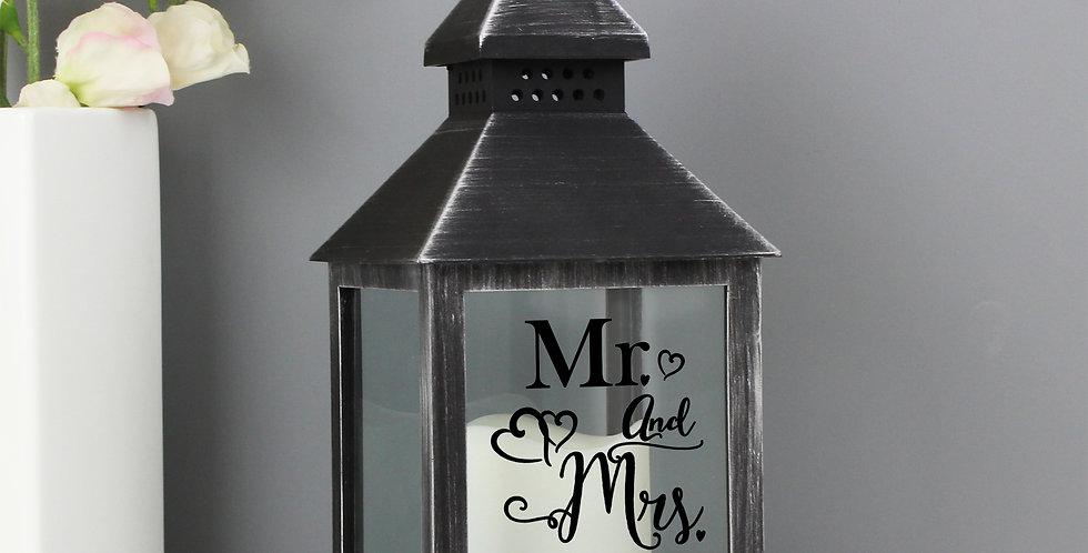 Rustic Black Lantern Personalised Mr and Mrs