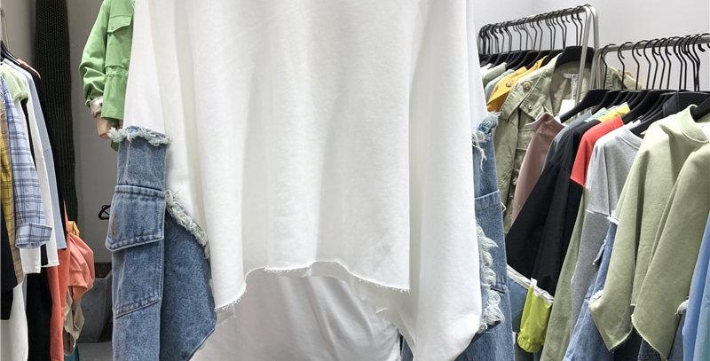 Pattern Round Collar Long Sleeve Denim Patchwork Pullovers Sweatshirt